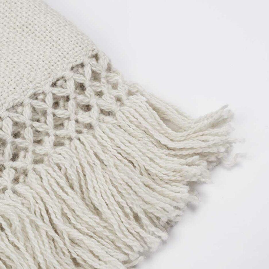 Zoom écharpe en laine de lama blanc Finca Home