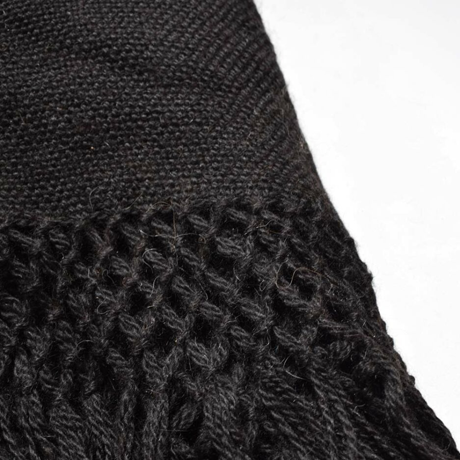 Plaid en laine de lama noir détails Finca Home