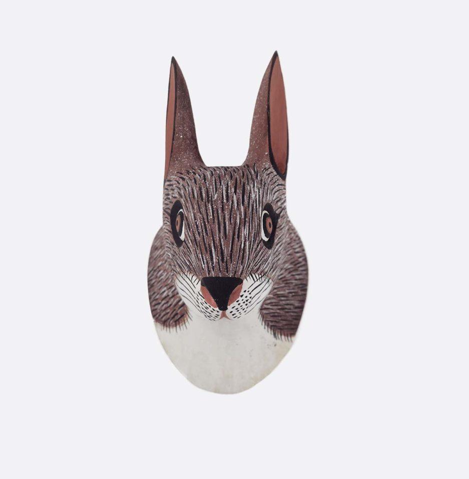 Trophée mural en bois lapin Finca Home - Vue de face