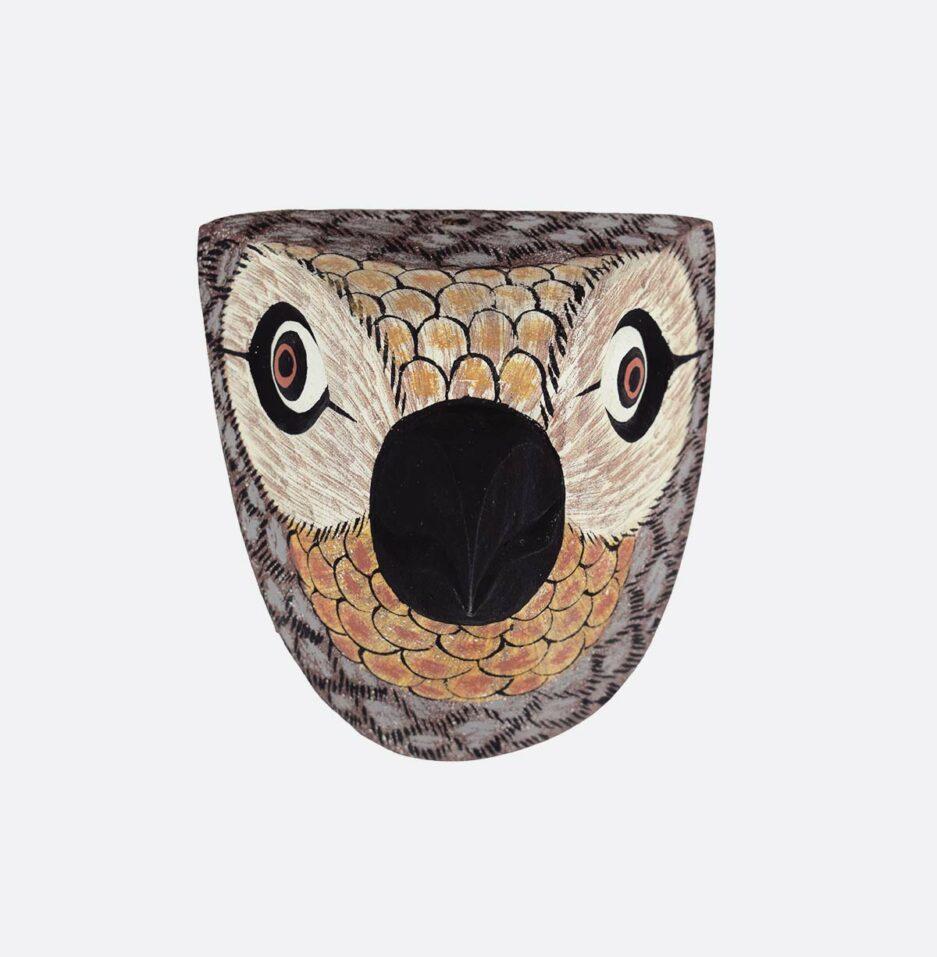 Trophée mural en bois Oiseau petit bec gris Finca Home - Vue de face