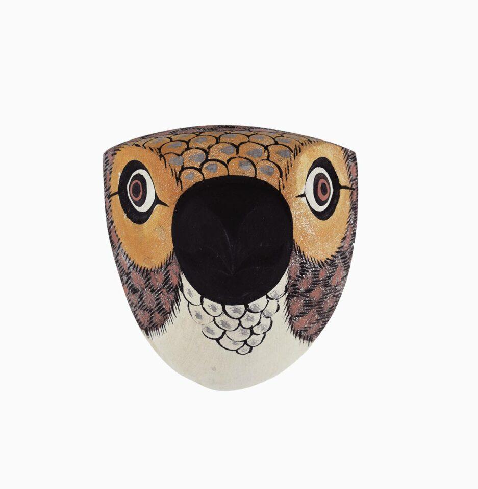Trophée mural en bois Oiseau petit bec marron Finca Home - Vue de face