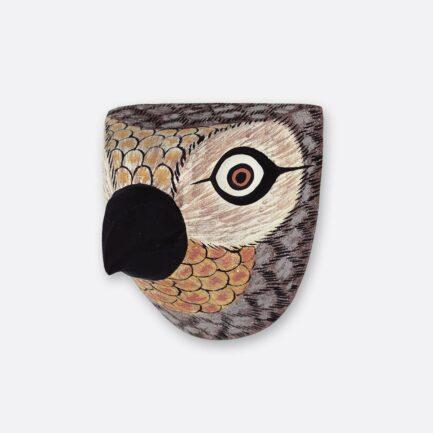 Trophée mural en bois Oiseau petit bec gris Finca Home