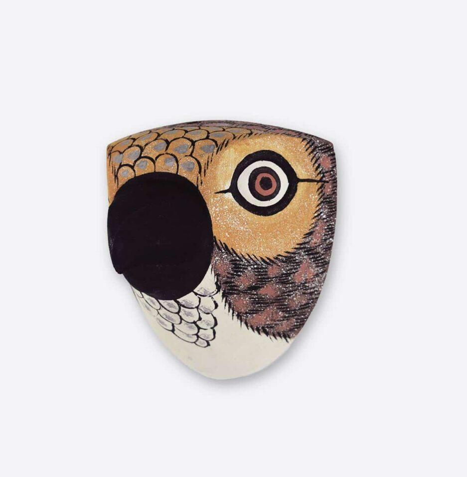 Trophée mural en bois Oiseau petit bec marron Finca Home