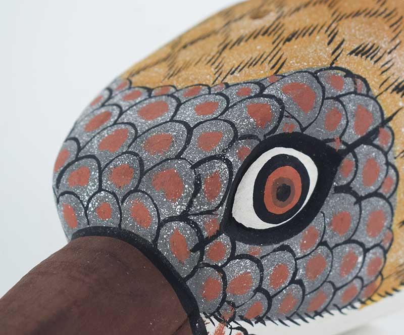 Masque Oiseau Marron en bois - Long bec - Zoom