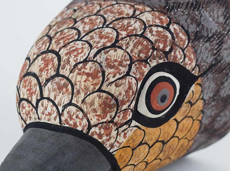 Masque Oiseau Gris en bois - Long bec - Zoom