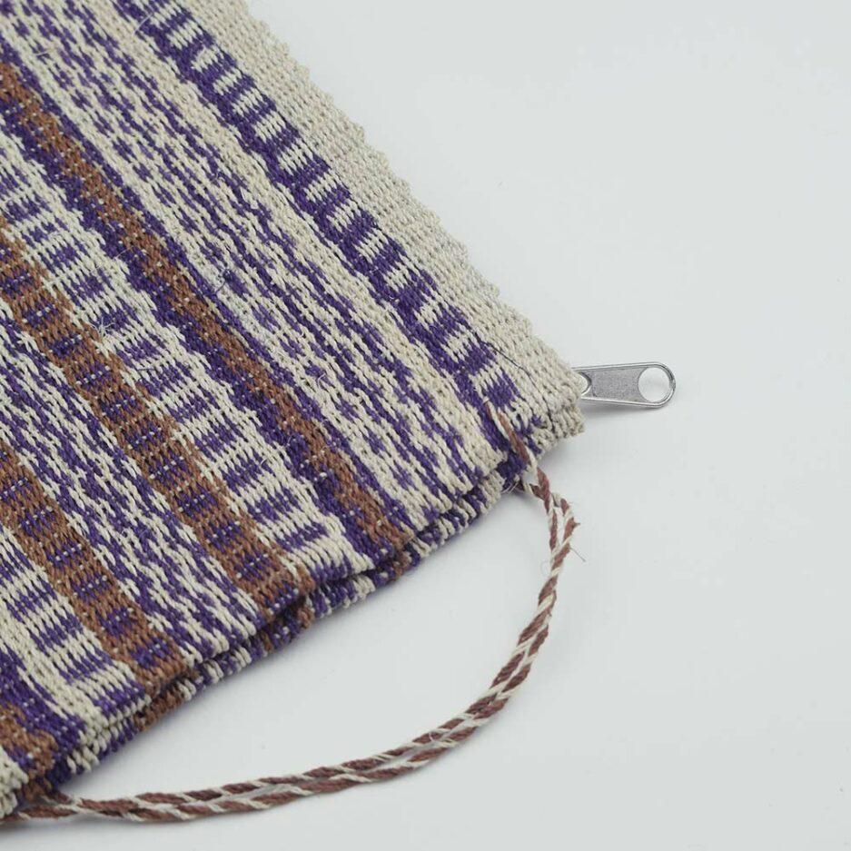Trousse tissée beige et violette Finca Home - Zoom