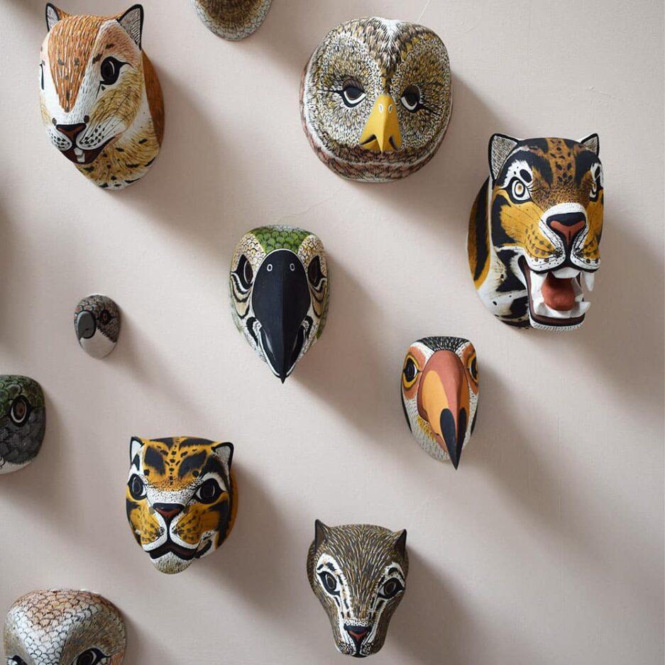 Masques animaux en bois Finca Home - Ambiance 3