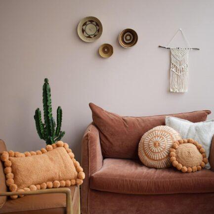 Coussin en laine blanc et ocre Finca Home - Ambiance