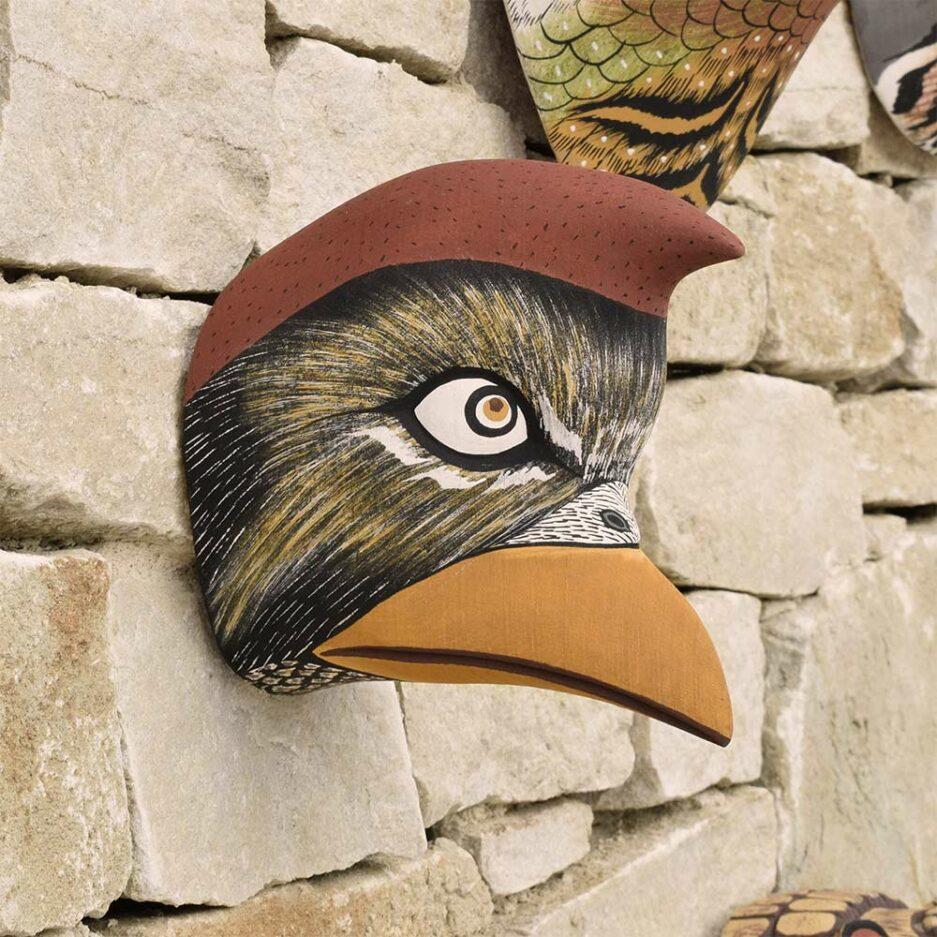Trophée mural en bois oiseau cardinal Finca Home