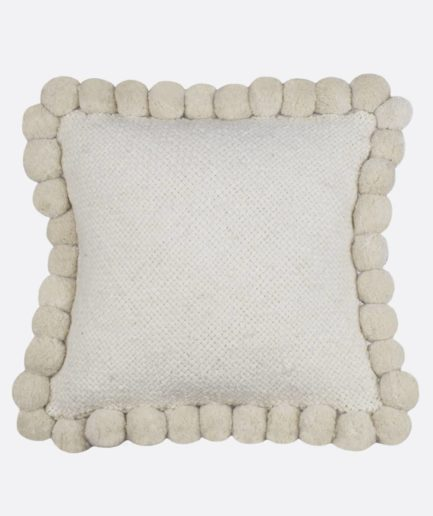 Coussin 50x50 pompons blanc Finca Home