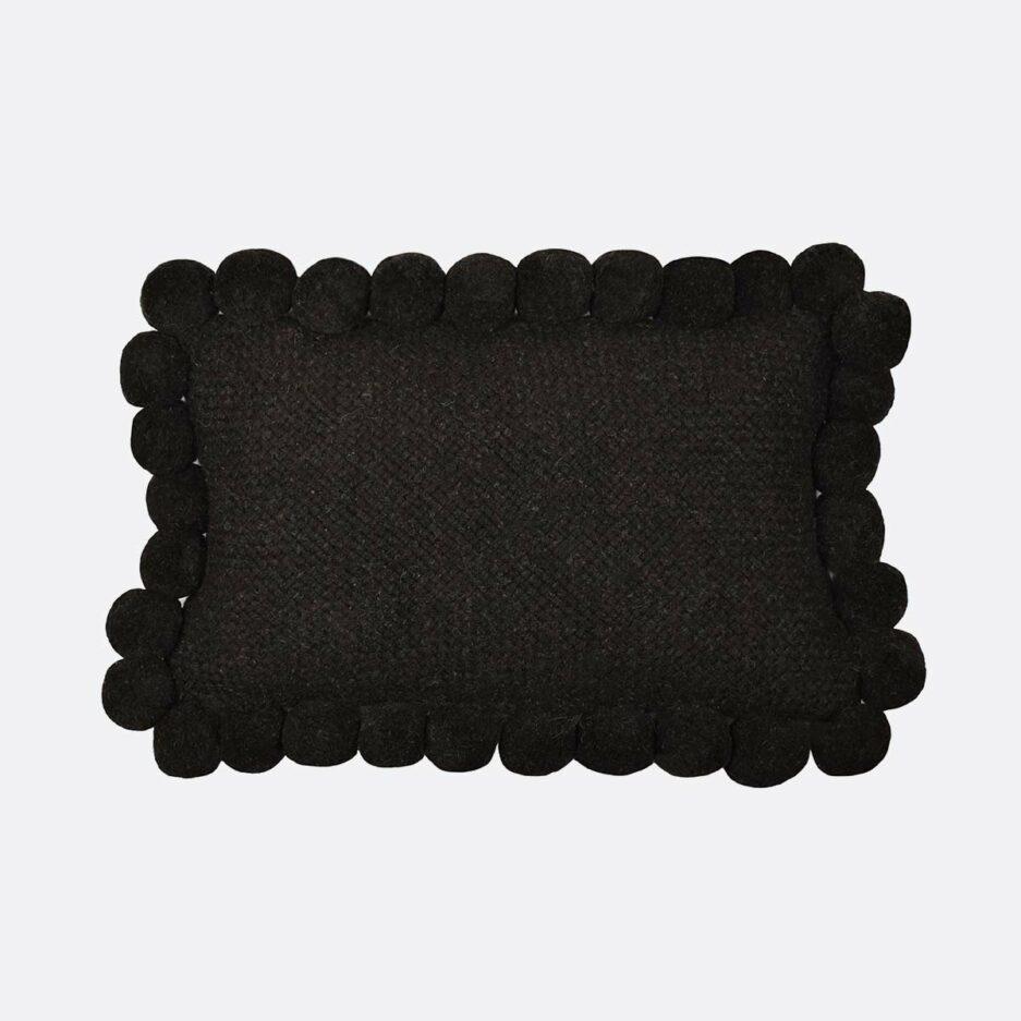 Coussin pompons rectangulaire noir 30x60 Finca Home