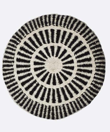 Coussin rond motif noir et blanc Finca Home