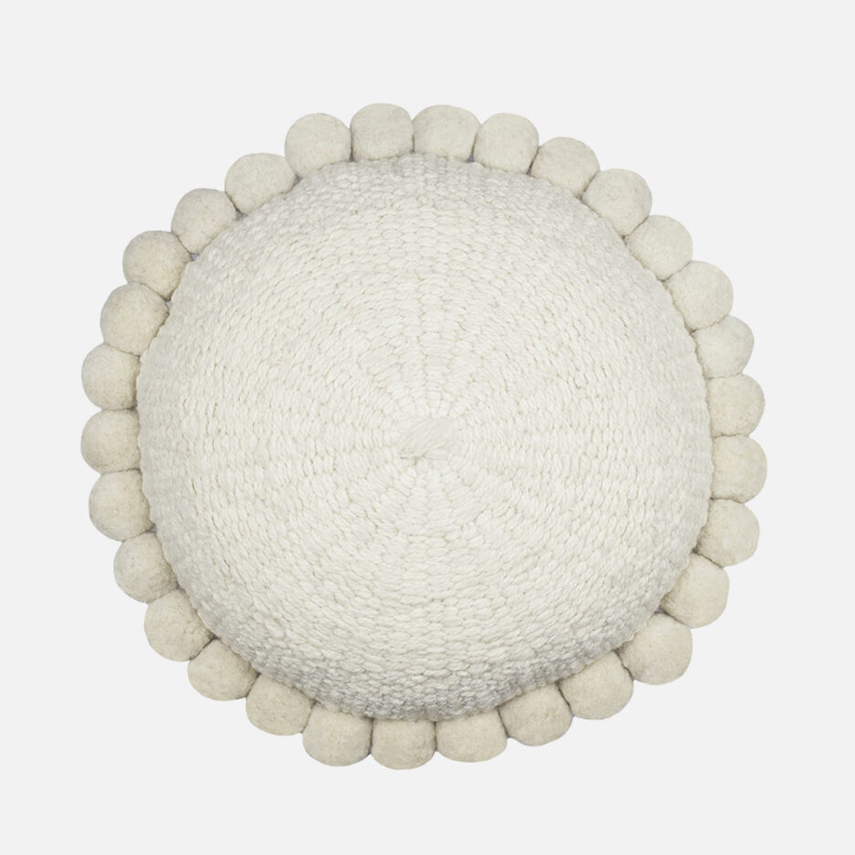 Coussin rond pompons blanc Finca Home