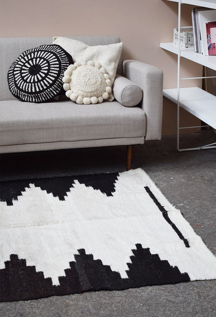 Tapis en laine noir et blanc Finca Home - Détails