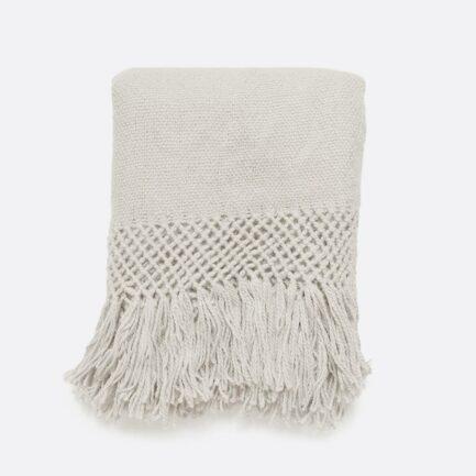 Plaid en laine de lama blanc FInca Home