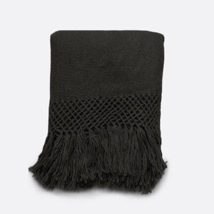 Plaid en laine de lama noir FInca Home
