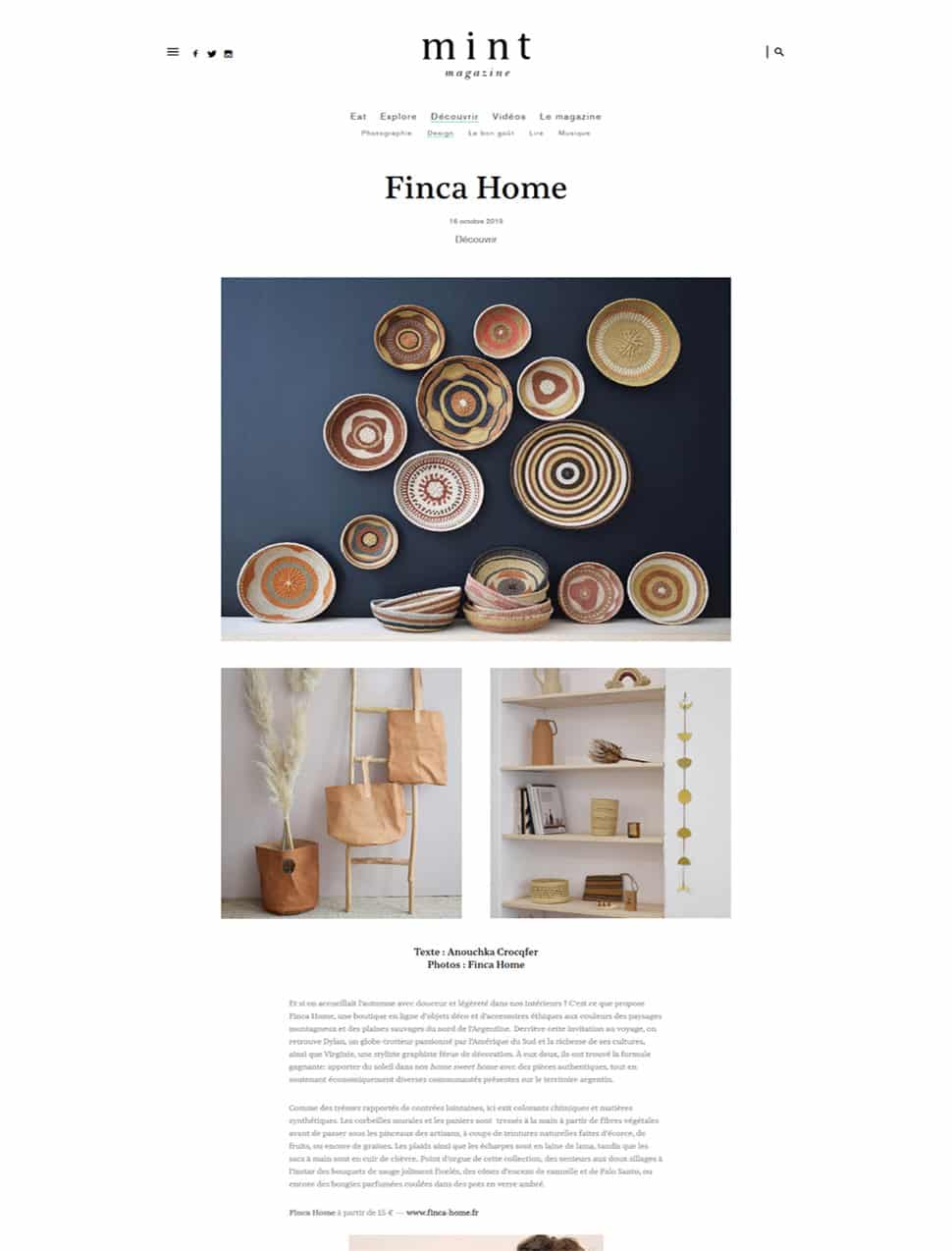 Mint Magazine Octobre 2019 - Finca Home