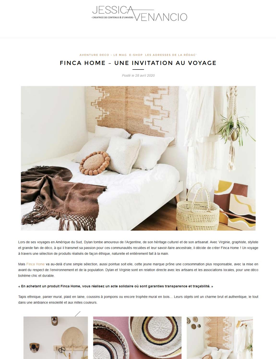 Article Aventure Déco Avril 2020 - Finca Home