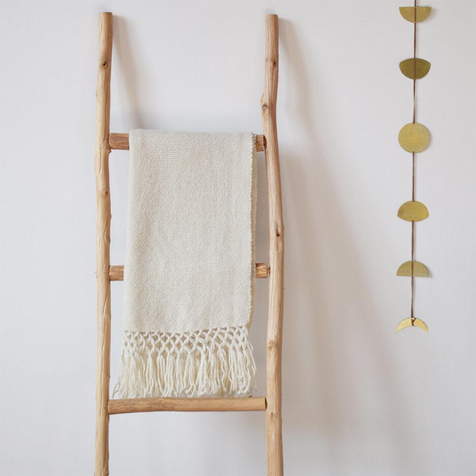 Écharpe blanche en laine de lama Finca Home