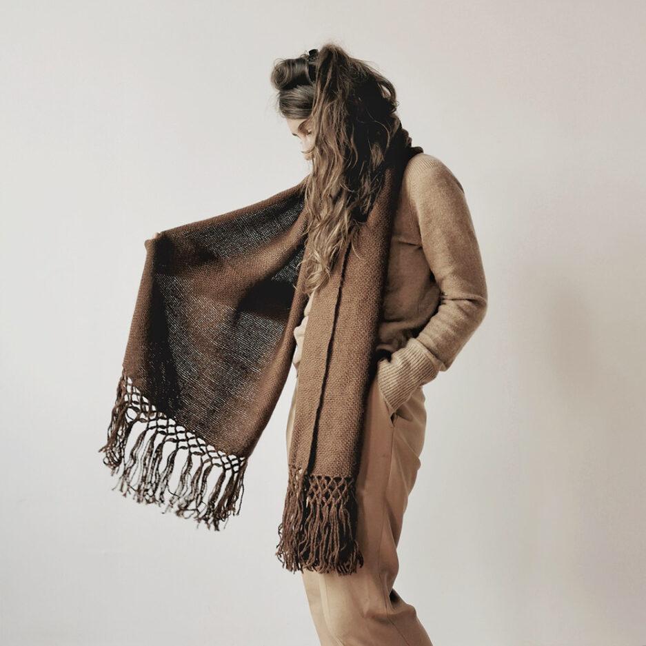 Écharpe marron en laine de lama Finca Home