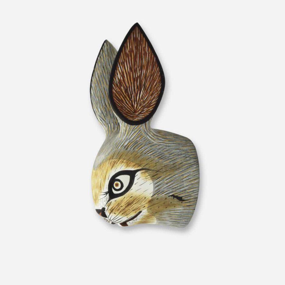 Trophée mural lièvre en bois - Finca Home