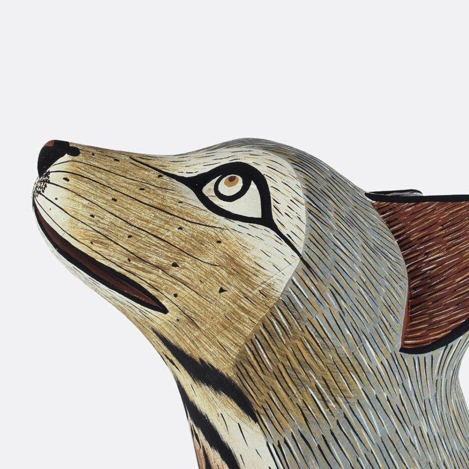 Trophée mural loup en bois - Finca Home