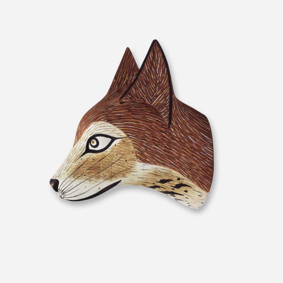 Trophée mural renard roux en bois - Finca Home