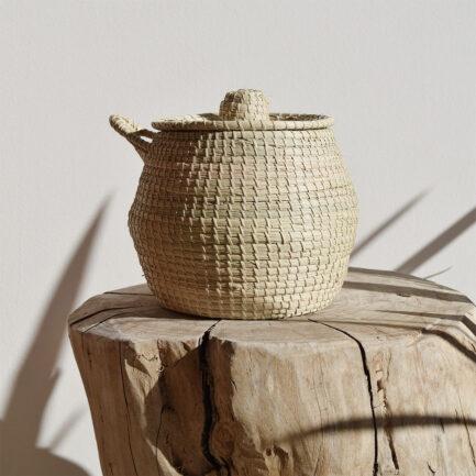 Boîte ronde avec anse en palmier tressé Finca Home
