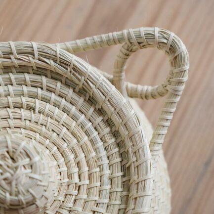 Boîte ronde avec anse en palmier Finca Home
