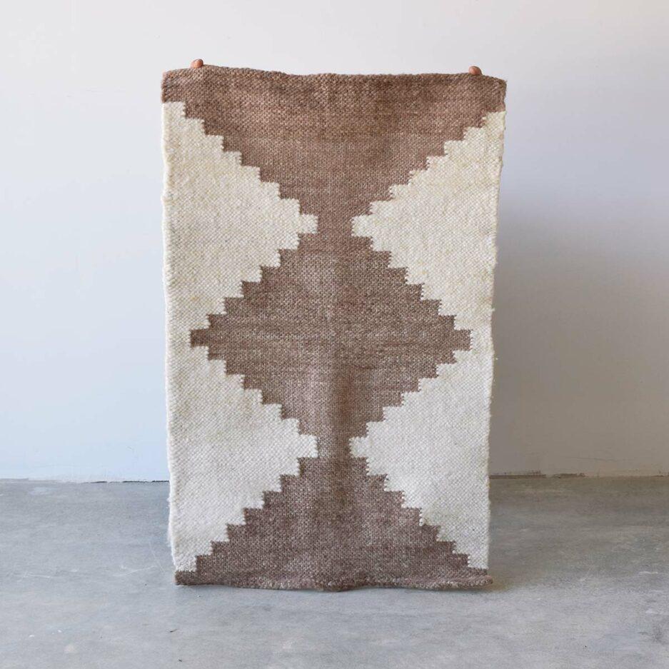 Mini tapis en laine marron Finca Home