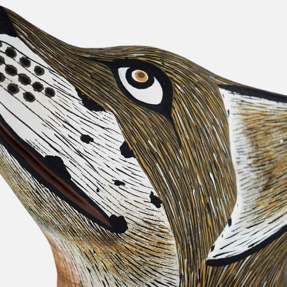 Trophée mural en bois loup Finca Home